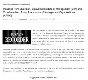Message from Chairman, Malaysian Institute of Management (MIM) and Vice-President, Asian Association of Management Organisations (AAMO) March 22, 2016)